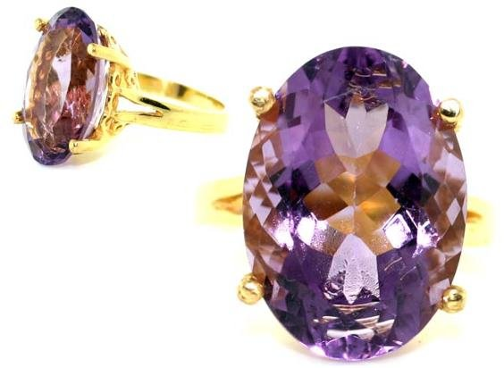 4247: 8 CT AMETHYST GOLD/SILVER RING