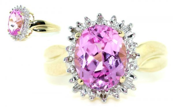 1020: 8 CT DIA AND PINK TOPAZ