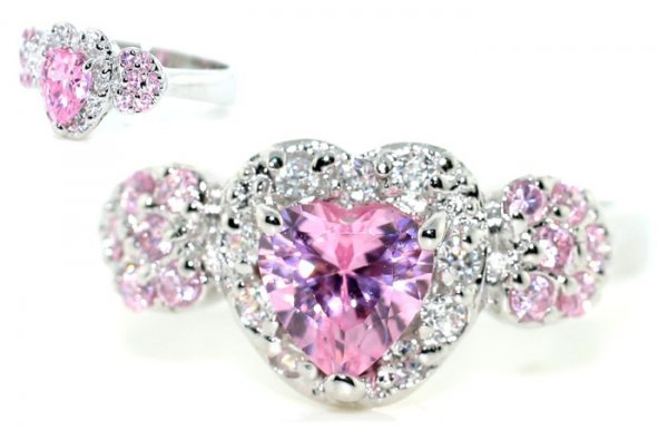 1021: 2 CT LAB WHITE AND PINK SAPP SILV