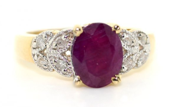 1000: 2 CT DIA AND RUBY 14K RING