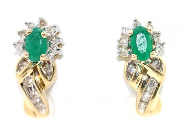 1018: 1 CT DIA AND EMERALD 14K EARRINGS