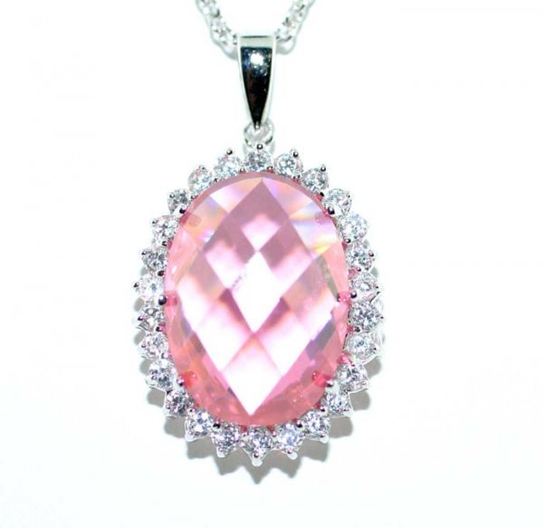 5013: 20 CT LAB WHITE AND PINK SAPP SILV