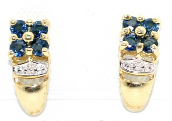 5022: 1 CT DIA AND SAPP GOLD EARRINGS