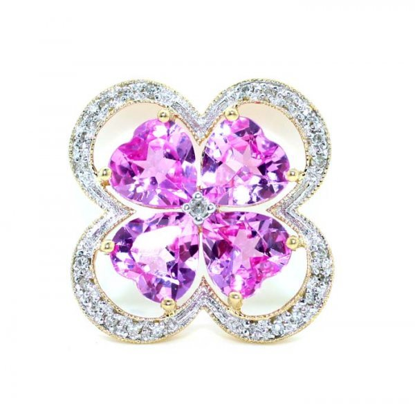 5021: 6 CT DIA AND PINK TOPAZ GOLD PENDANT