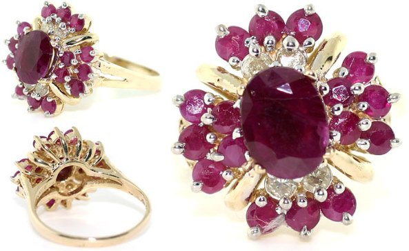 5011A: 3 CT DIAMOND AND RUBY 14K RING
