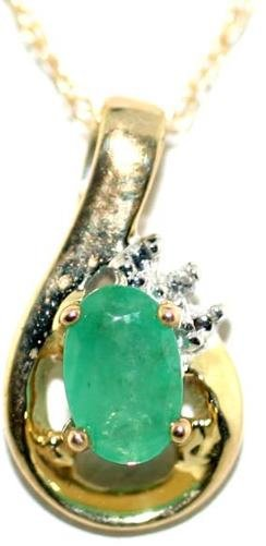 5014A: 1 CT DIA AND EMERALD GOLD PENDANT