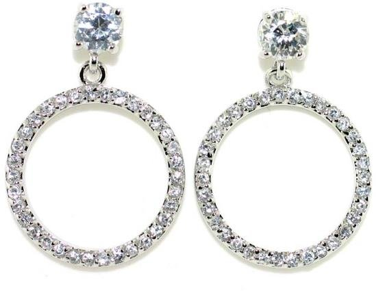 5014A: 4 CT LAB WHITE SAPPHIRE SILV EARRINGS