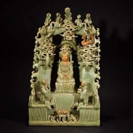 MING D. A LONGQUAN WARE BUDDHA BOX