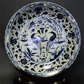 A BLUE AND WHITE MASSIVE FLORAL PLATE