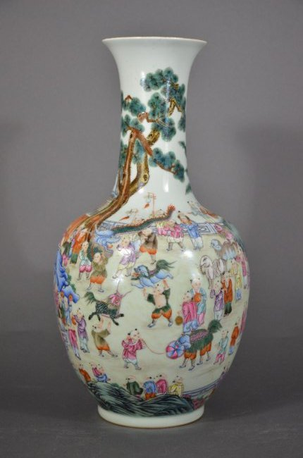 QING D., A FAMILLE ROSE VASE OF PLAYING CHILDREN