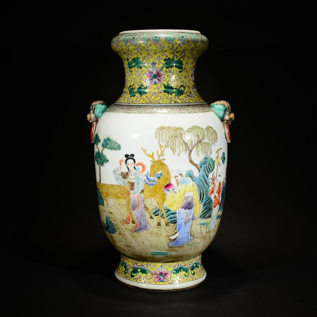 QING D., A FAMILLE ROSE VASE WITH LOOP