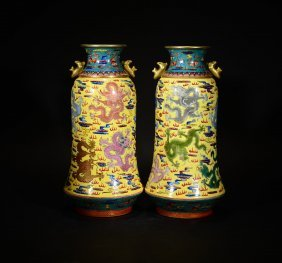 Yongzheng Mark, A Pair Of Famille Rose Fish Vases