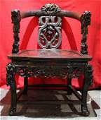 one red sandalwood dragon chair