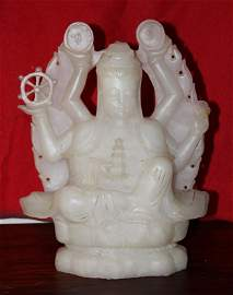 one 19 century old whiet jade buddha, 27 pound