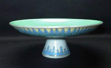 Qing Daoguang colorful turquoise highpfooted plate