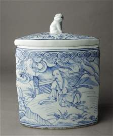 Ming Wanli blue and white People Cover pot