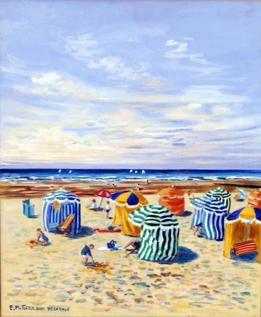 Edwige Mitterrand; French Painting Beach Scene