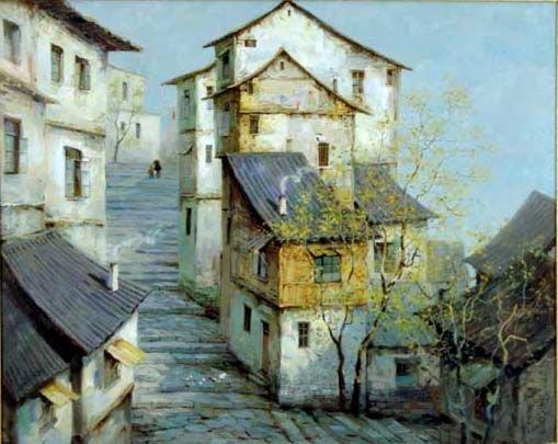 Zhen-Zhon Duan Chinese painting Village in China
