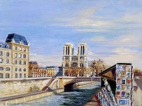 5014: Edwige Mitterrand French Painting Paris Notre Dam