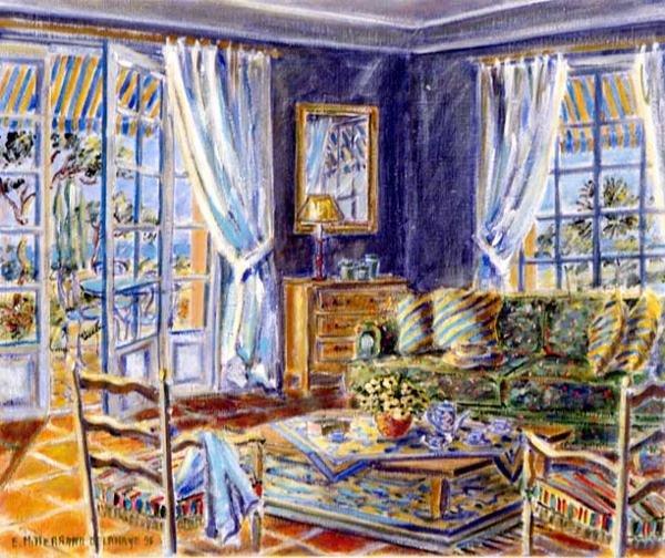 5016: Edwige Mitterrand French Artist, L'Interieur Bleu