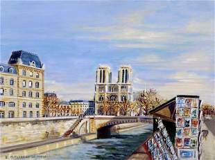 Edwige Mitterrand , Painting Paris Notre Dame