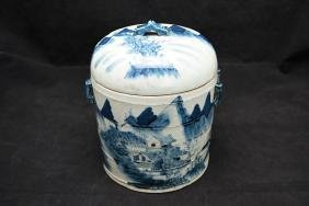 Early 20 century blue and white ginger jar decorated