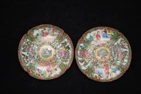 A pair of Guangzhou export famille rose dishes with