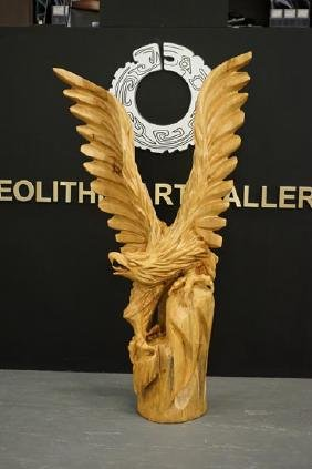 A middle 20th century wooden sculpture of an Eagle