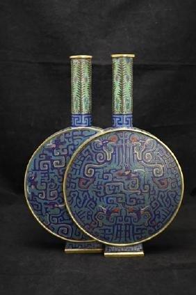 Bronze cloisonne enamel double moon flask, de corated