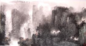 'Mountain landscape' signed Ji, Zhenming, 178*96