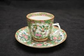 Qing Dynasty Guangdong famille rose coffe cup with