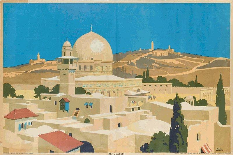 Vintage Israeli poster Jerusalem 1920's
