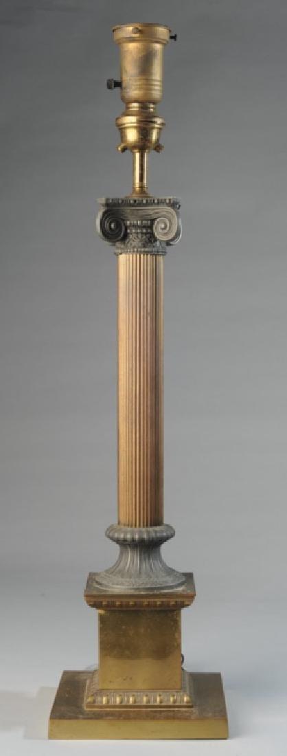 Brass Columnar Table Lamp