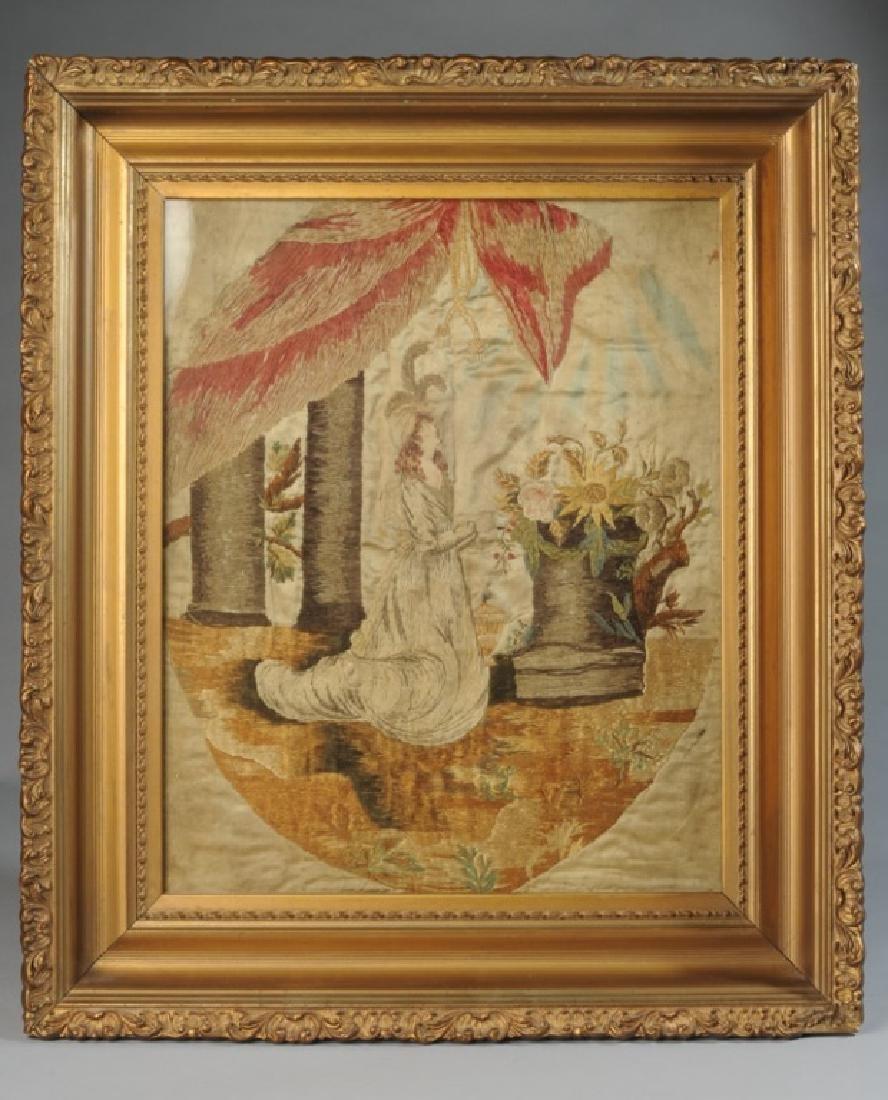19th C. Memorial Needlework of Maiden