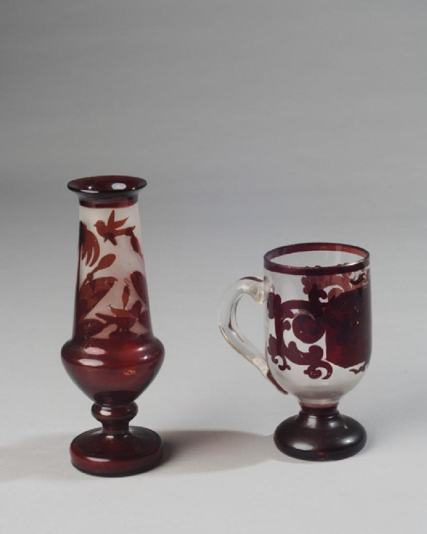 Two Early Pieces Red & Clear Blown Glass