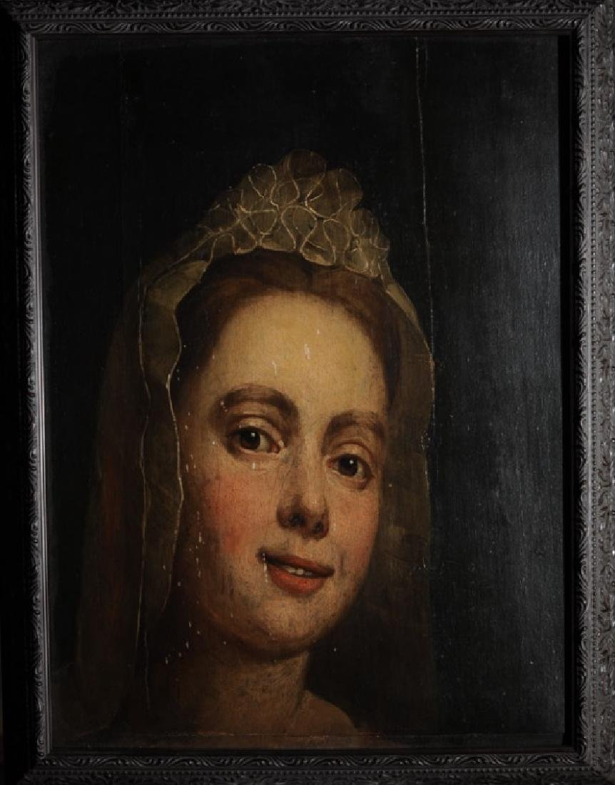 Early Oil on Panel of a Maiden