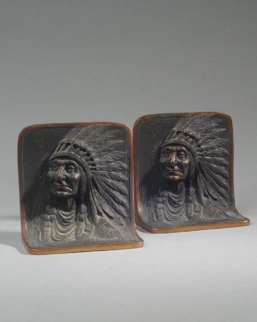 Pair of Bronze Native American Bookends