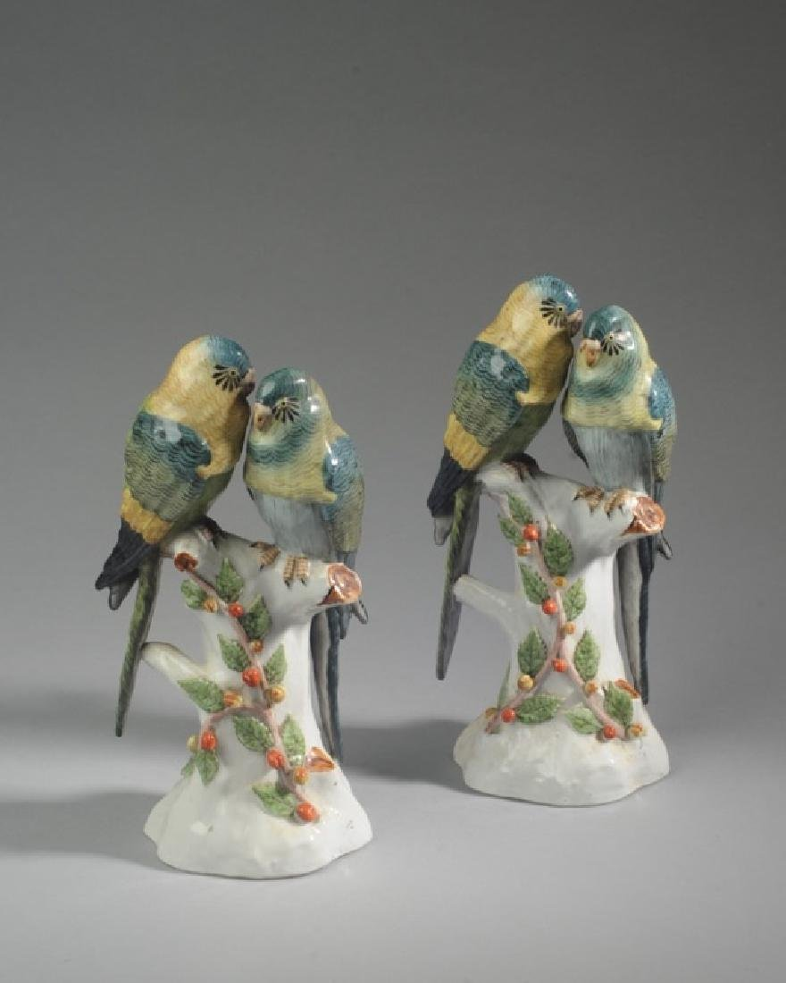 Pair French Glazed Parrot Figures