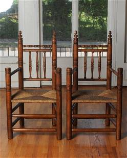 Pair of Wallace Nutting Pilgrim Style Arm Chairs
