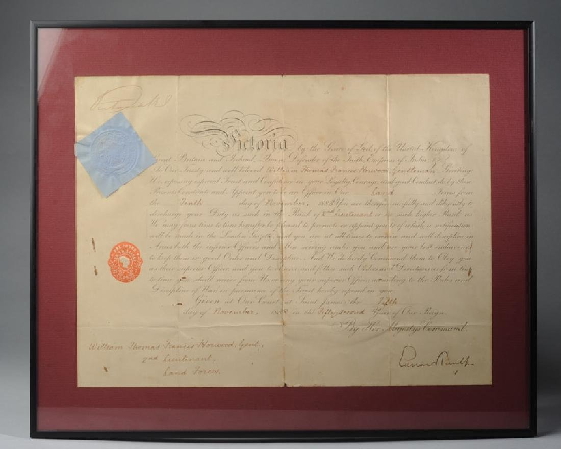 Queen Victoria Signed Military Commission
