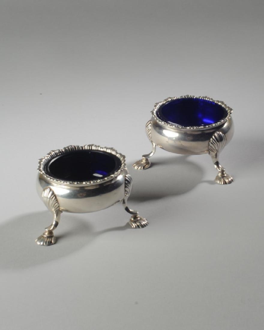 Pair English Georgian Style Sterling Master Salts