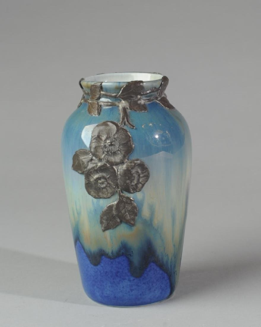 Glazed Pottery Vase with Applied Decoration