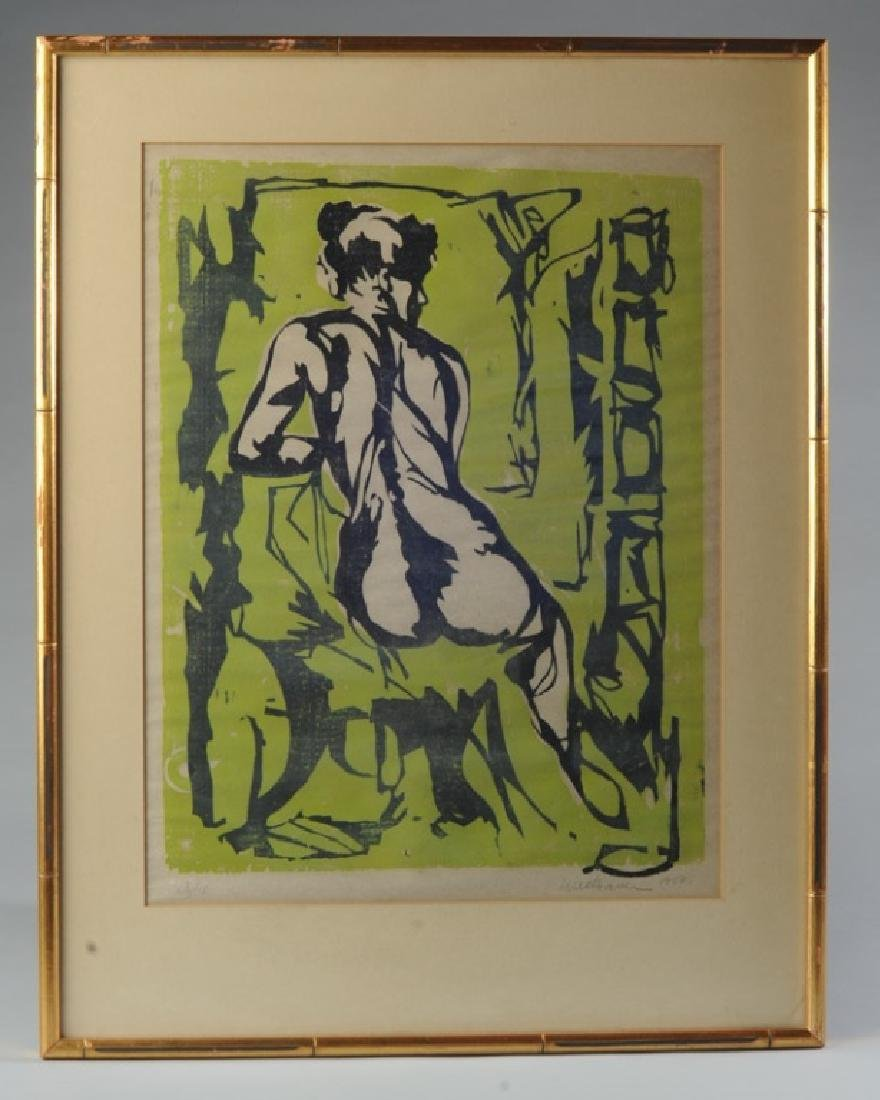 Original 1958 Woodcut Female Nude