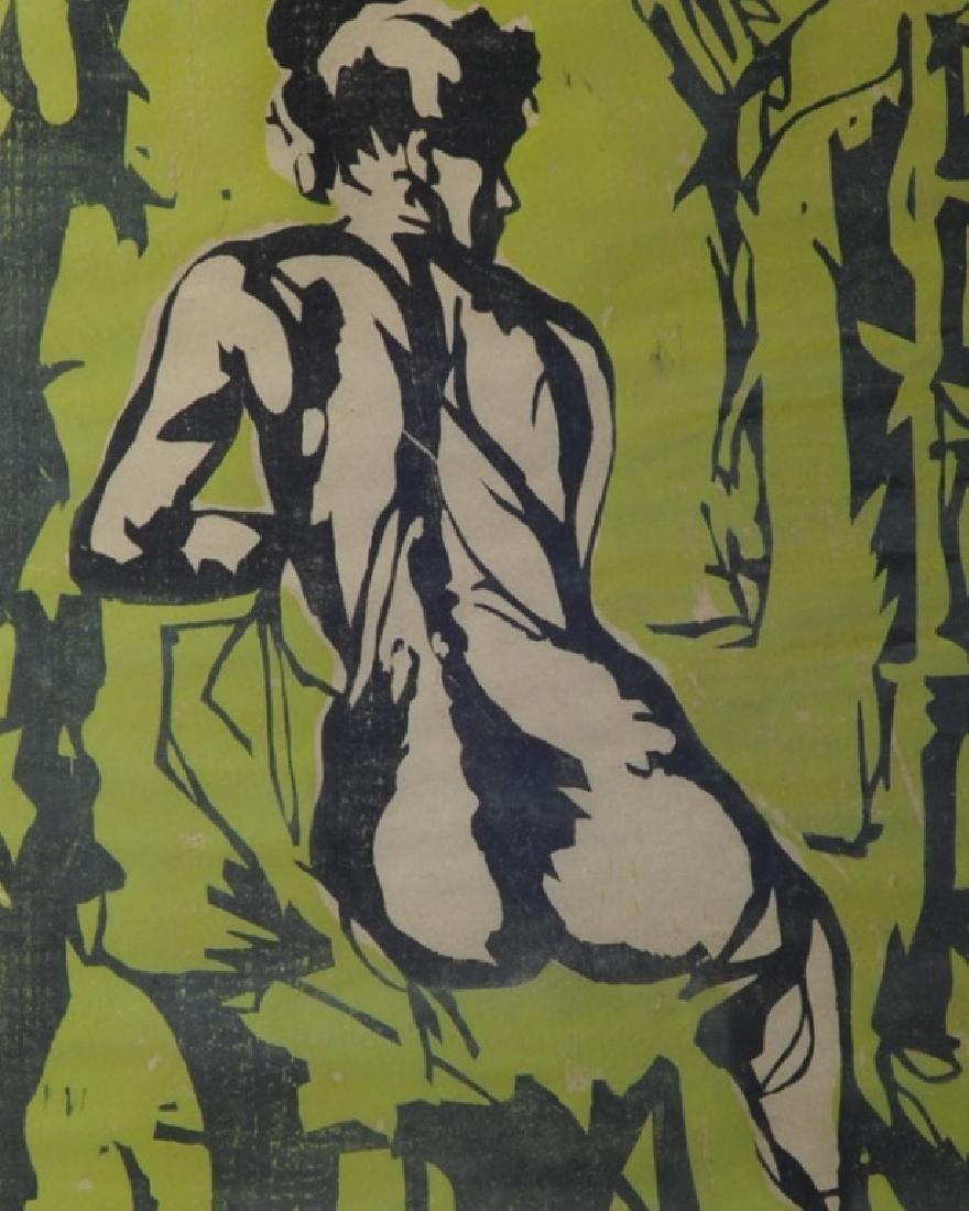 Original 1958 Woodcut Female Nude - 2