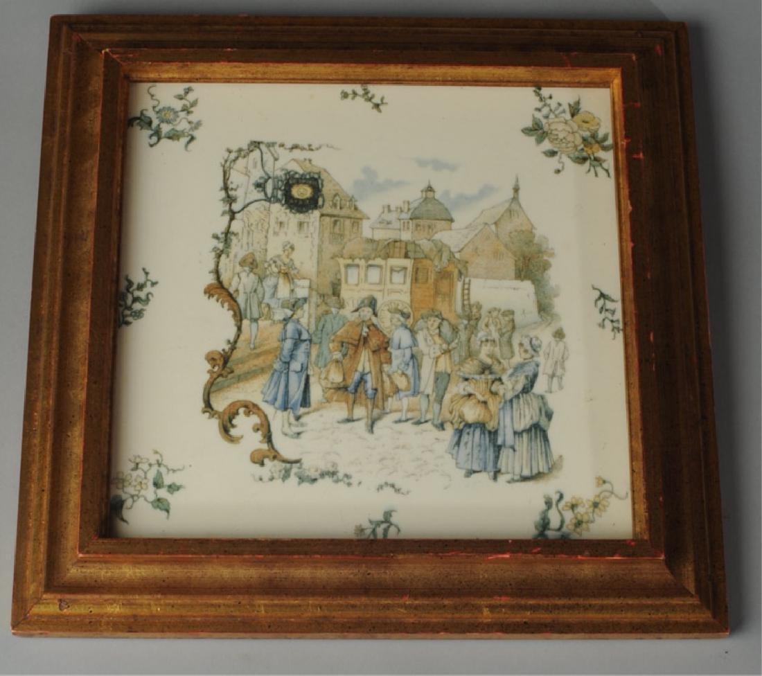 Vintage Framed Porcelain Tile French Scene