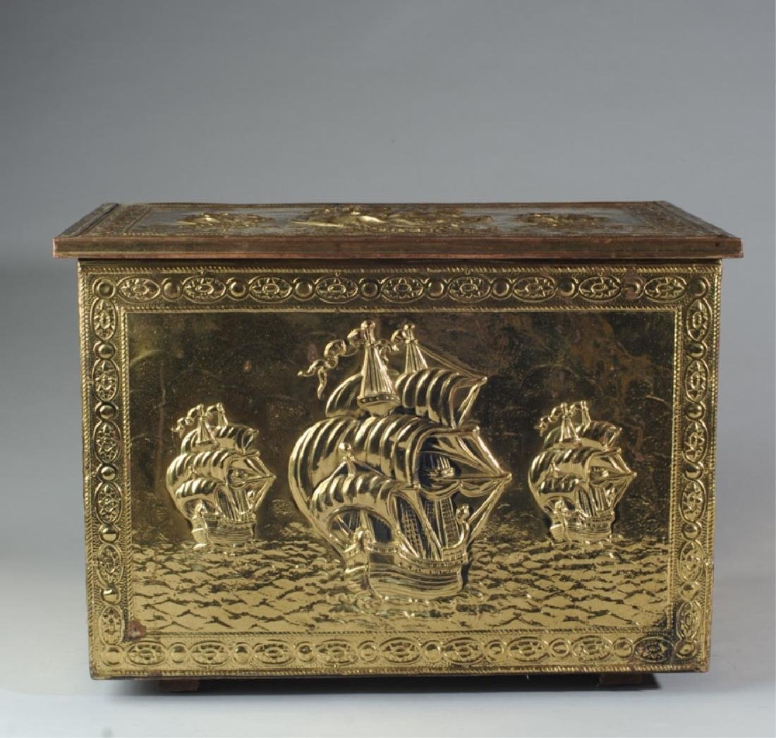 Brass Covered Wooden Kindling Box