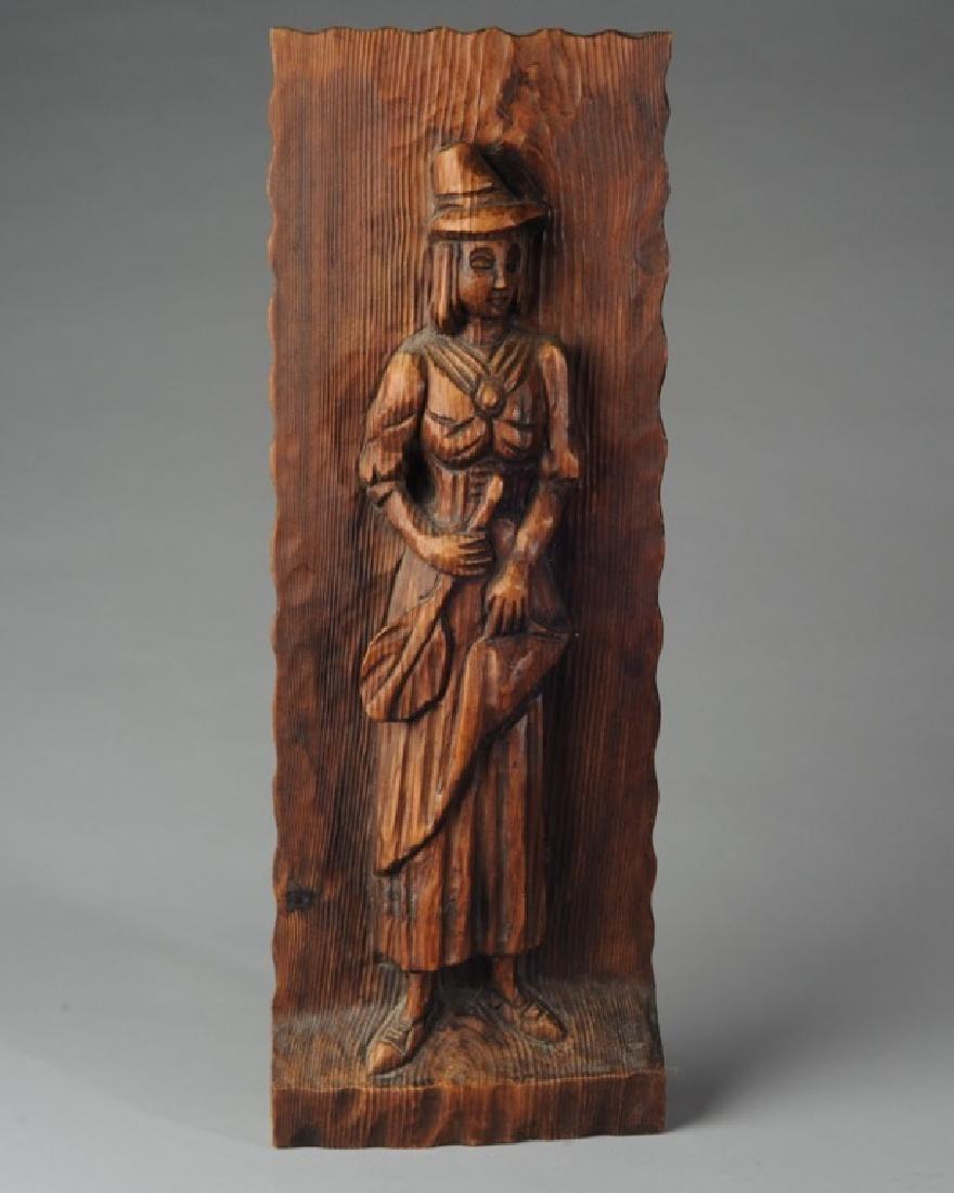 Vintage Wood Carving Wall Decor Female Figure