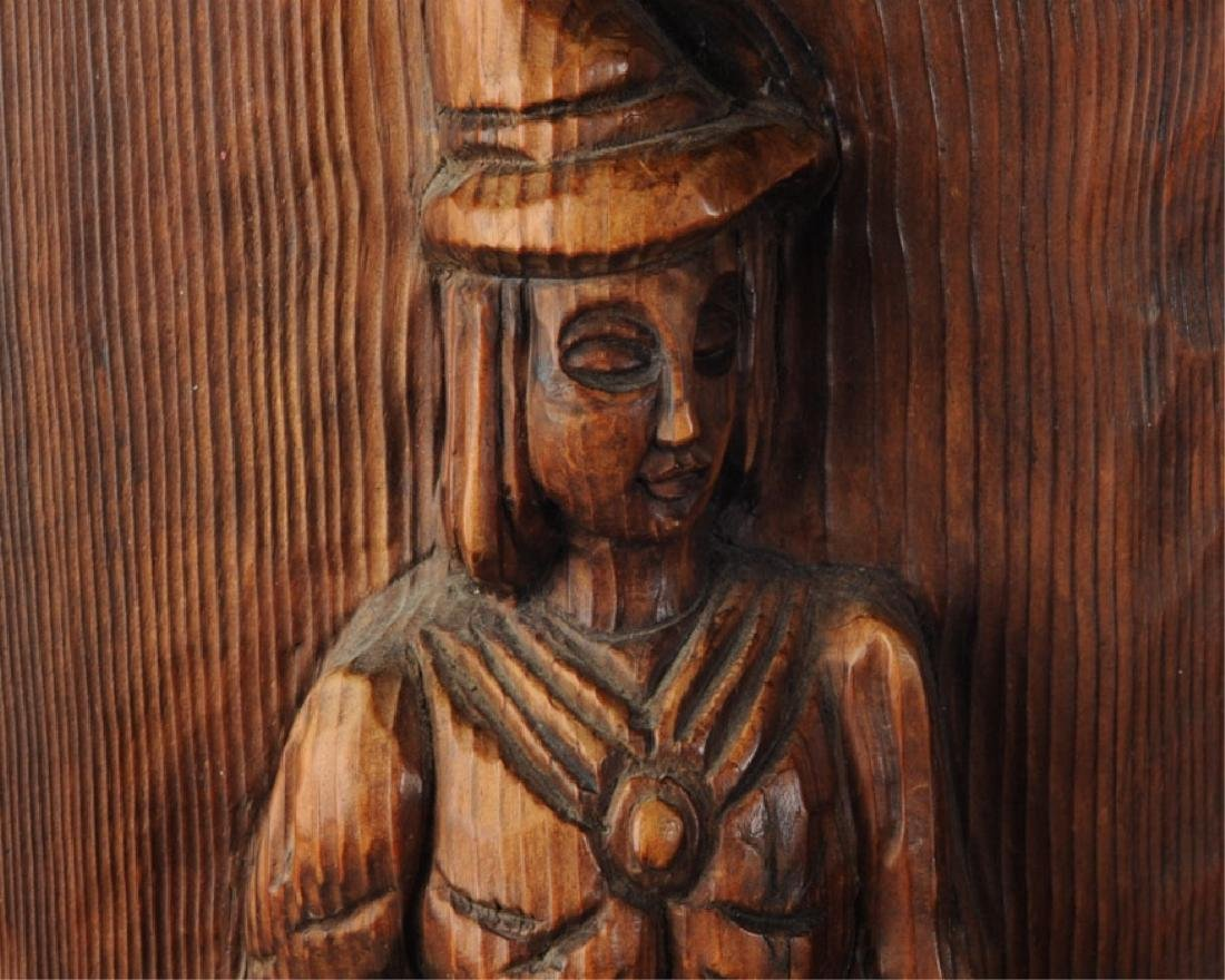 Vintage Wood Carving Wall Decor Female Figure - 2