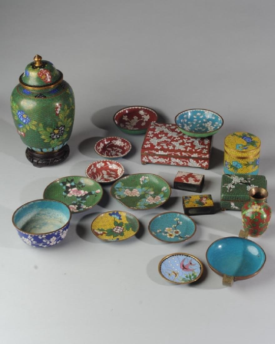 Large Lot Vintage Chinese Cloisonne