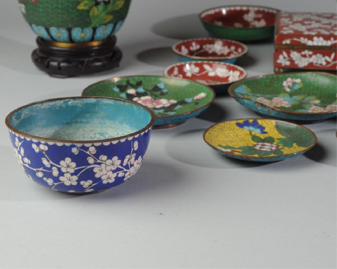 Large Lot Vintage Chinese Cloisonne - 6